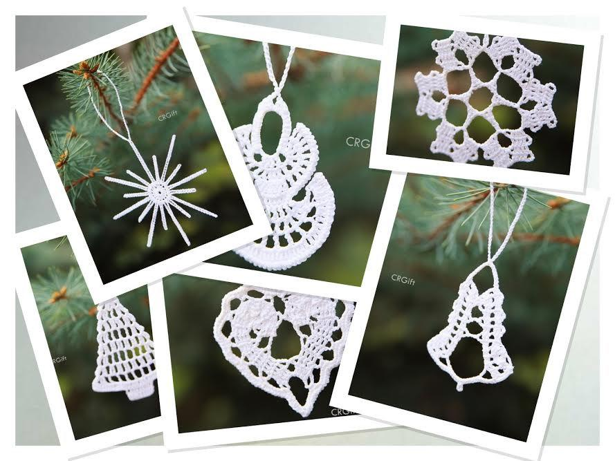 Hochzeit - Crochet Christmas Tree Ornaments / Set of 6 different Ornaments / Christmas entertaining & decor / Christmas Decorations
