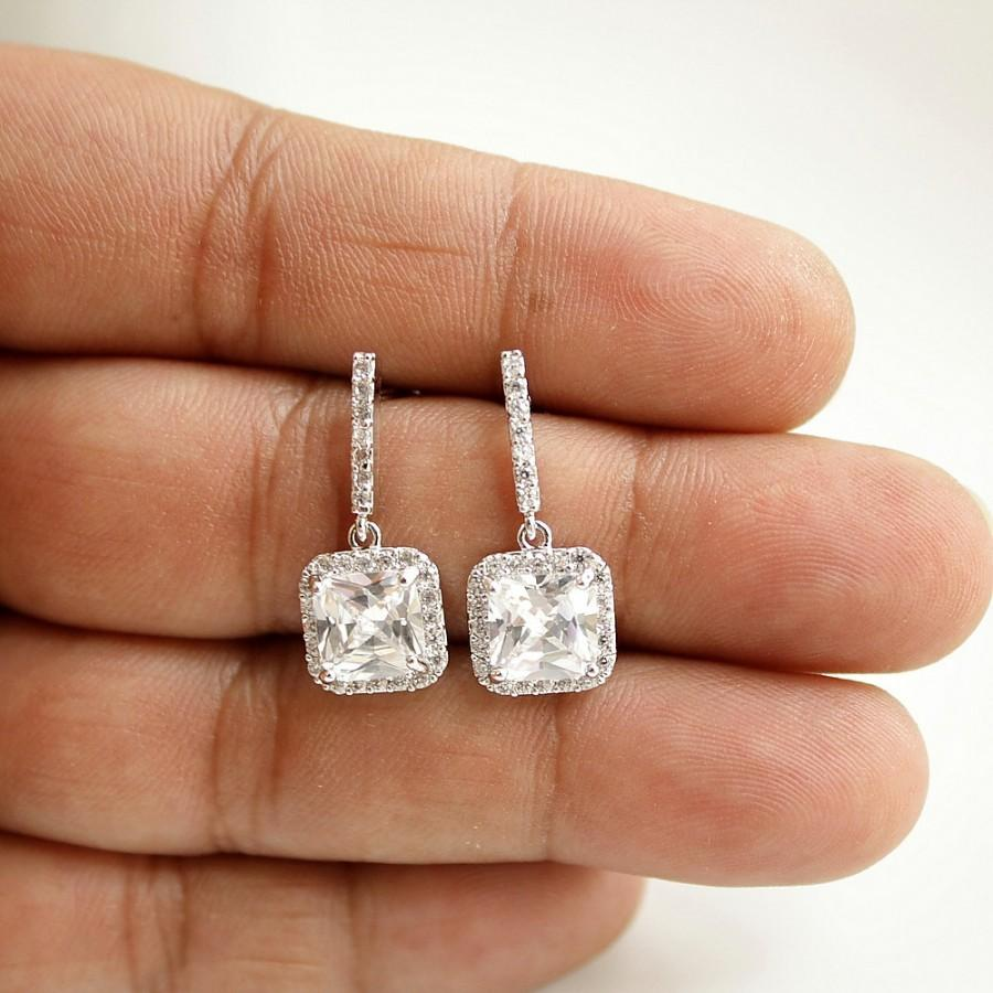 Wedding Earrings Square Bridal Small Drop Clear Cubic Zirconia Silver Studs Jewelry