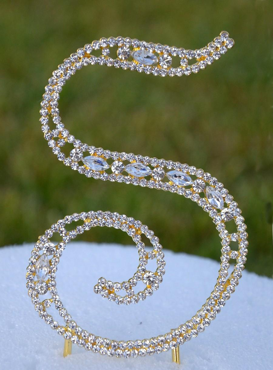 """Hochzeit - Large 5""""  Crystal Rhinestone Gold Cake Topper Letter """"S"""" Monogram Wedding Birthday Party Top Initial CT101"""