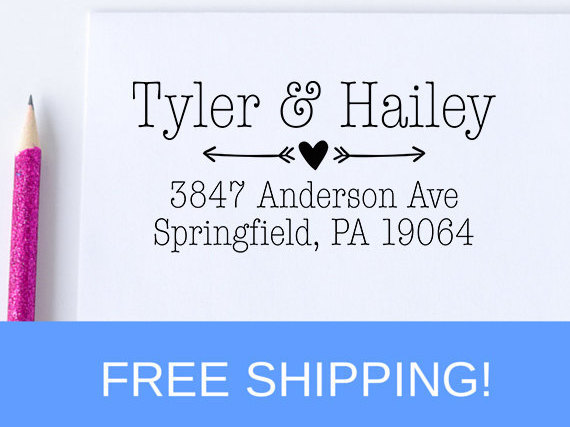 Wedding - Return Address Stamp, Personalized Address Stamp, Self Inking Address Stamp, Custom Address Stamp, Wedding Gift  (D188)