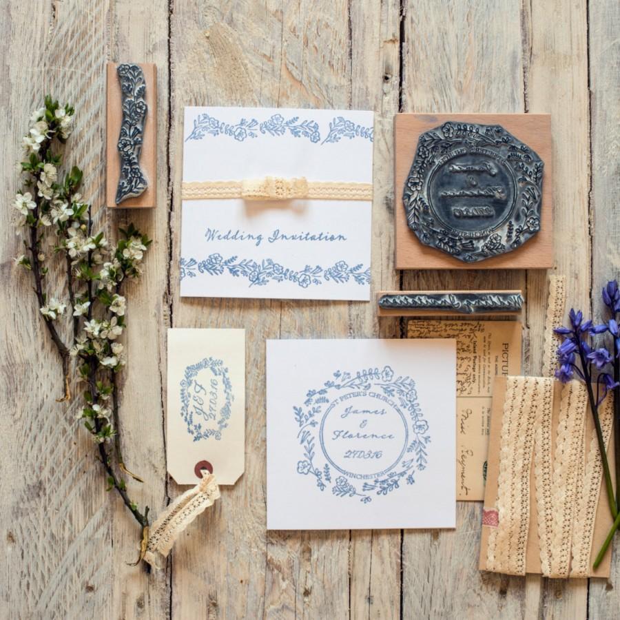 Wedding - Wedding Rubber Stamp Wild Flower Garland Personalised