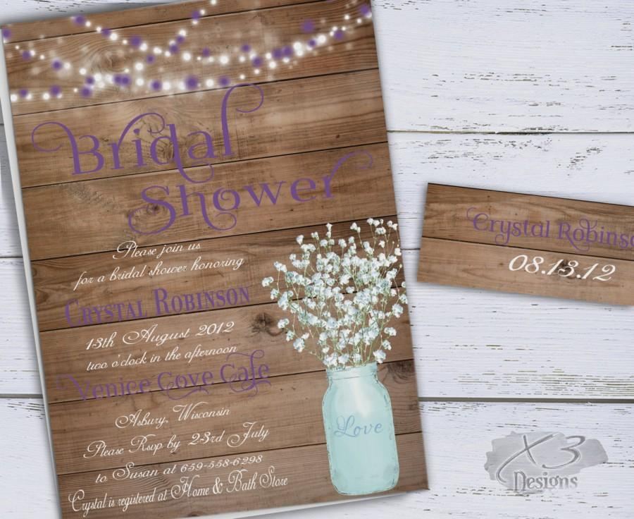 Mason jar bridal shower invitation rustic wedding shower invite mason jar bridal shower invitation rustic wedding shower invite babys breath bridal shower invite purple floral shower string lights filmwisefo