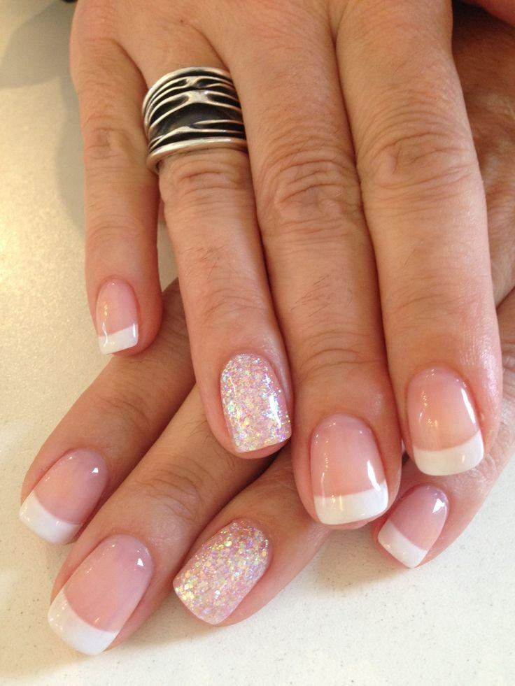 Bio Sculpture Gel French Manicure 87 Strawberry Base Colour 3 Snow White With Iridescent Glitter Feature Nail