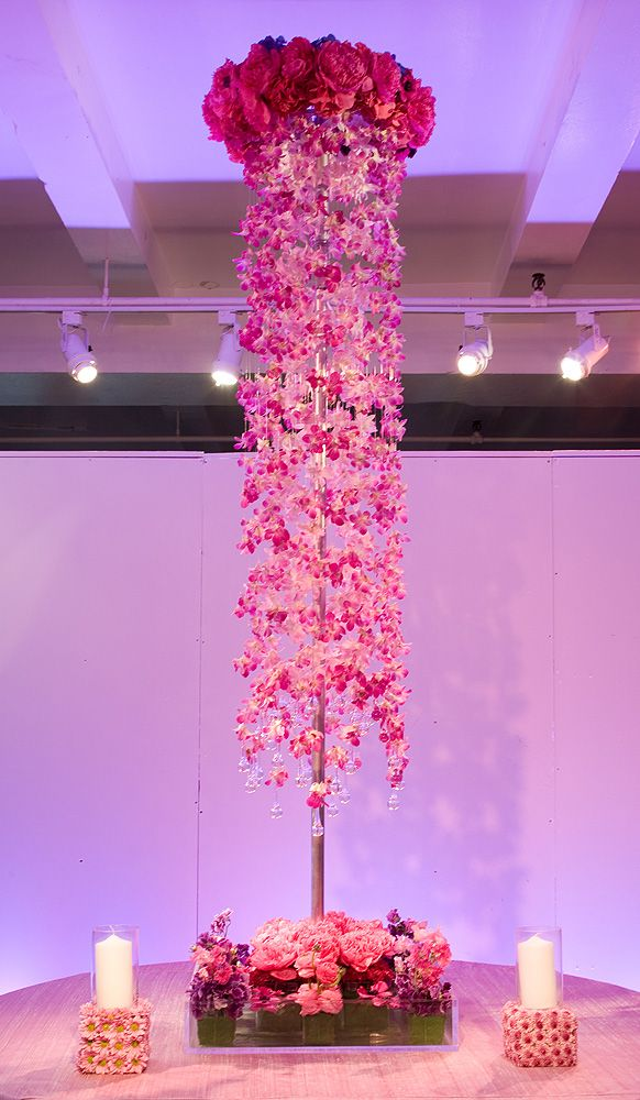 Tall Centerpieces For A Hot Pink Wedding