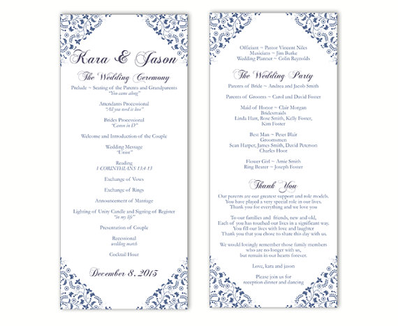 Hochzeit - Wedding Program Template DIY Editable Text Word File Instant Download Program Blue Program Floral Program Printable Wedding Program 4x9.25