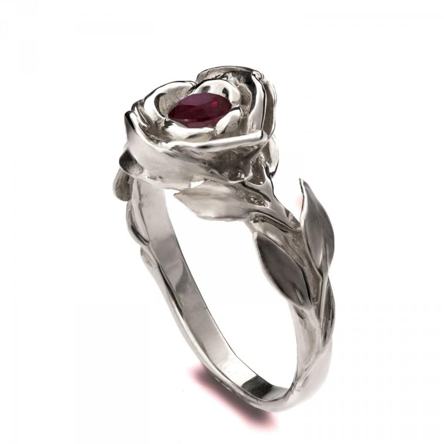 Mariage - Rose Engagement Ring, 18K White Gold Ruby engagement ring, unique engagement ring, leaf ring, game of thrones jewelry, July Birthstone, 1
