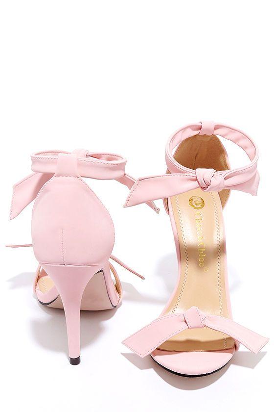 Hochzeit - Belle Epoque Light Pink Nubuck Ankle Strap Heels