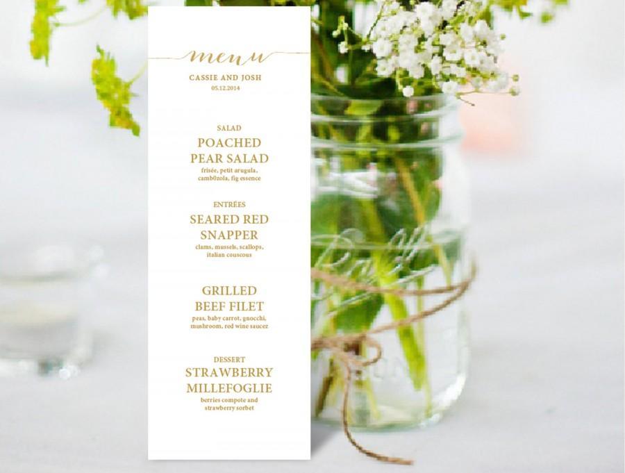Mariage - Wedding Menu Template Printable Editable menu  Instant Download  DIY You print Gold Calligraphy
