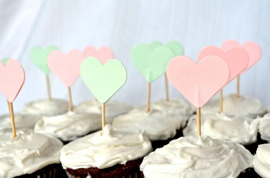 Mariage - 12 Mint and Peach Heart Cupcake Picks, custom colors available