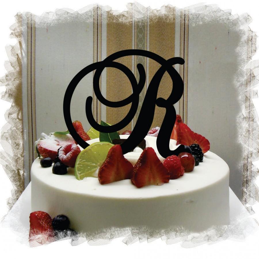 "Mariage - Monogram Wedding Cake Topper - 5""or 6"" Beautiful Single Monogram letter Cake Topper ( Special Custom Made Initial Wedding Topper )"