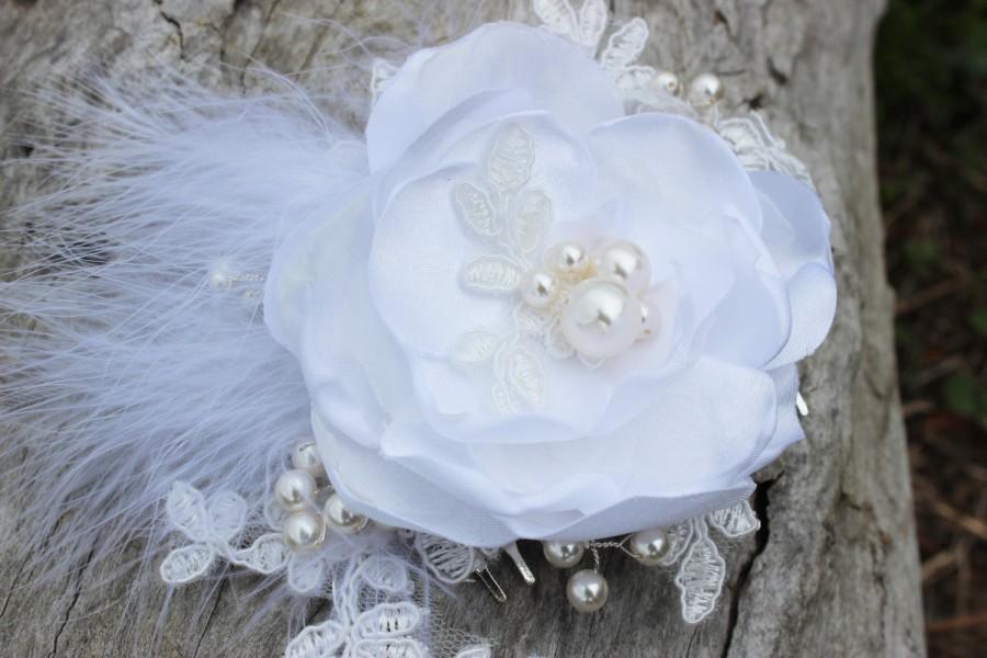 Свадьба - Bridal headpiece 'Karlie', white flower hair piece, wedding hair comb, flower feather headpiece, bridal hair clip, bridal hair comb