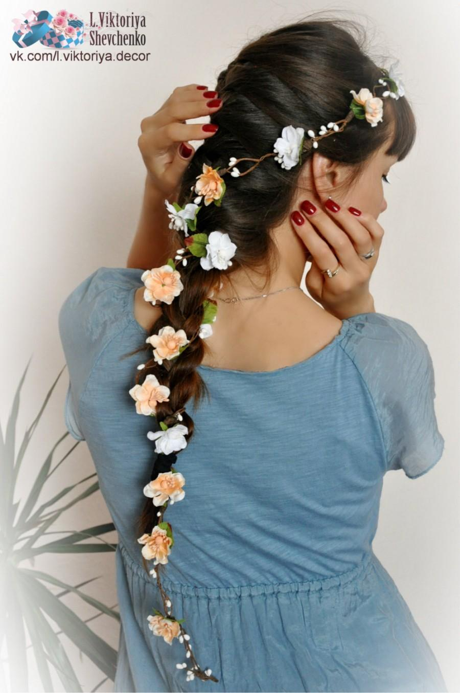 Flower hair garland bridal flower crown wedding hair flowers head flower hair garland bridal flower crown wedding hair flowers head wreath flower crown cherry blossoms white bridal wreath floral hair crown izmirmasajfo
