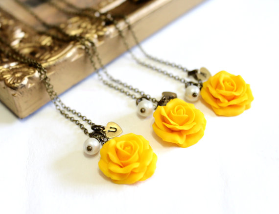 Wedding - SET of 3 - 4 Yellow Rose Necklace,Yellow Pendant,Personalized Initial Disc Necklace,Rose Charm,Bridesmaid Necklace,Yellow Bridesmaid Jewelry