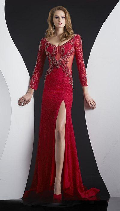 Mariage - Jasz Red Carpet 4999 Long Sleeve Lace Illusion Gown - Brand Prom Dresses