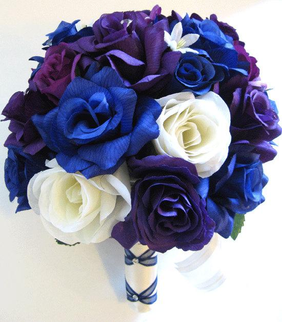 "Свадьба - Wedding flowers silk Bridal bouquet 17 piece Package ROYAL Blue PURPLE PLUM Cream Artificial bouquets decorations  ""RosesandDreams"""