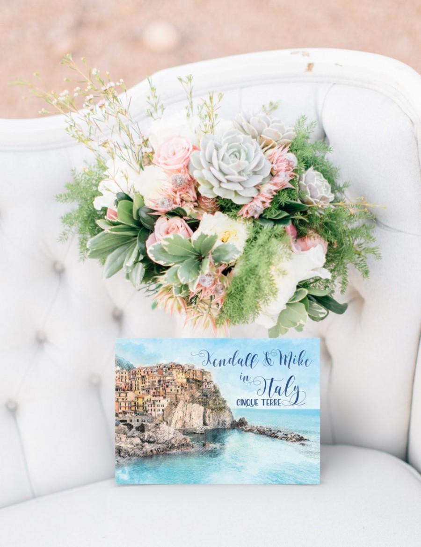 Wedding - Digital Printable Files Destination Wedding Cinque Terre Italy Watercolor Wedding Invitation RSVP Thank You Wedding Stationery ID904
