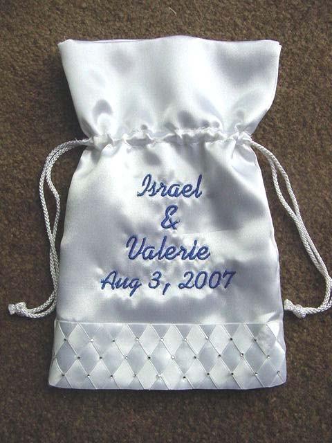 Mariage - Personalized 10 inch  Wedding Bridal Money Card Drawstring Bag Purse Rhinestones or Pearls accent