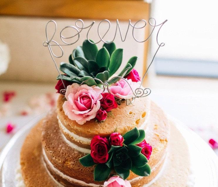 Свадьба - Customized Copper or Silver Wire Cake Topper