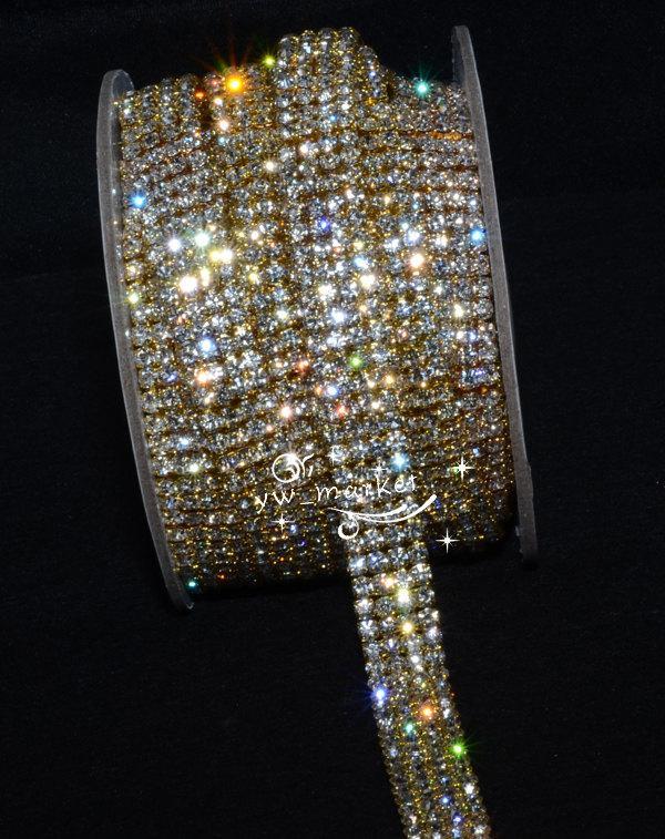 Wedding - 4-row crystal rhinestone chain trim DIY wedding cake decor golden 1 yard