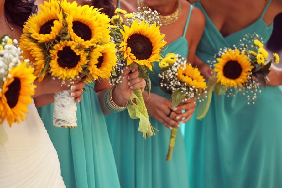 REAL TOUCH Sunflower Bouquet Set! Wedding Bouquet Set, Wedding ...
