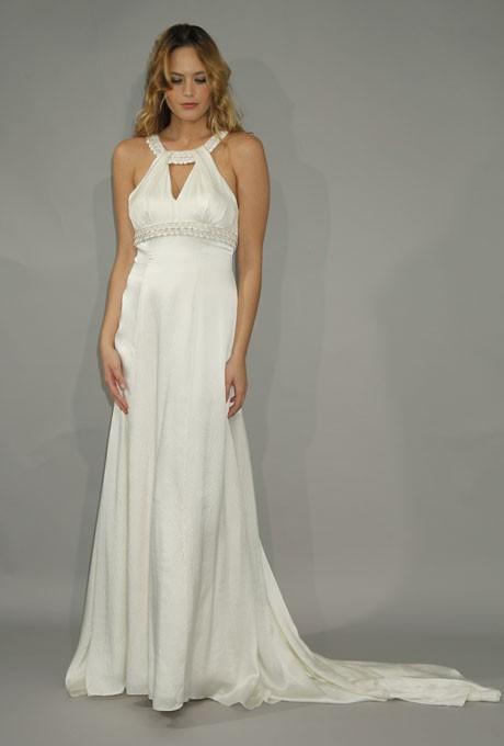 Mariage - Birnbaum & Bullock - Fall 2012 - Cleo Sleeveless Silk Satin Sheath Wedding Dress with Beaded Halter Neckline - Stunning Cheap Wedding Dresses