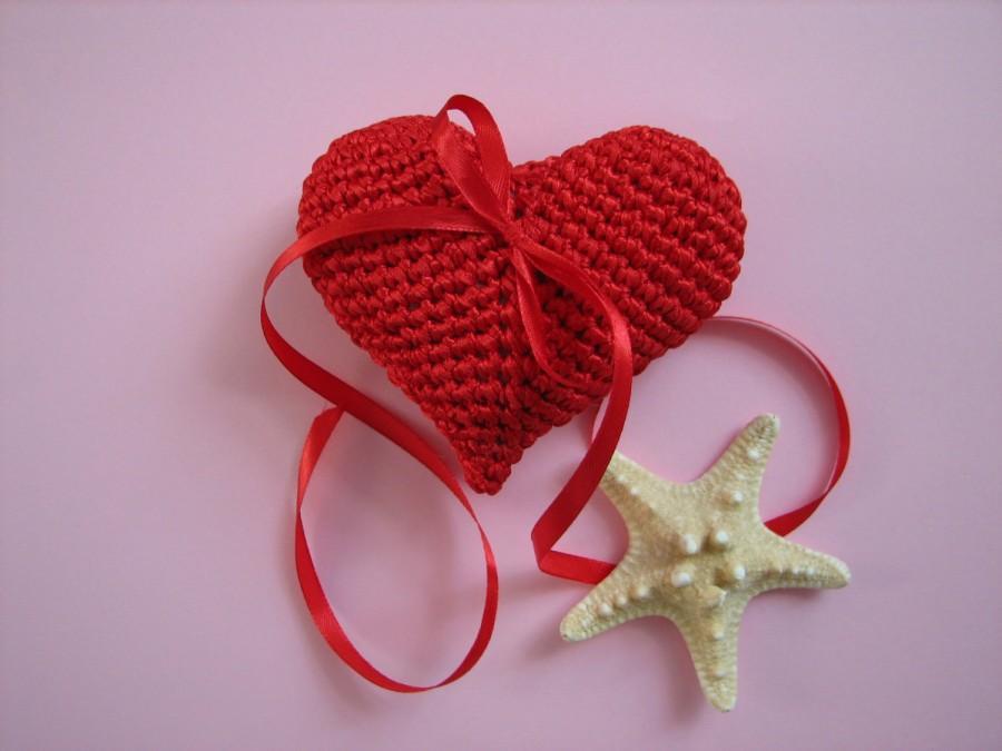 Свадьба - Crochet Heart, Red Heart, Wedding Heart, Cake Topper