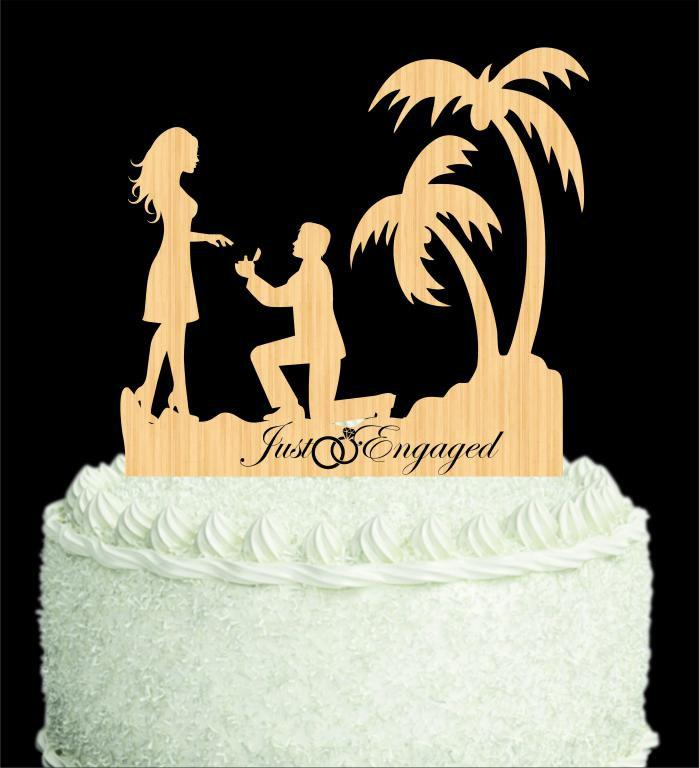 Wooden Cake Toppers, Engagement Cake Toppers, Propose Cake Toppers ...