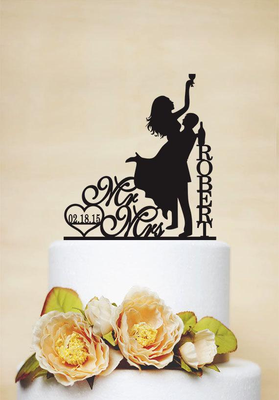 زفاف - Wedding cake topper,Drunk Bride Cake Topper,Custom Cake Topper,Bride And Groom Silhouette,Funny Cake Topper,Mr and Mrs Cake Topper C130