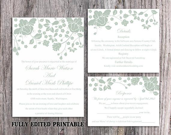 Wedding - Printable Wedding Invitation Suite Printable Invitation Green Wedding Invitation Floral Invitation Download Invitation Edited PDF file