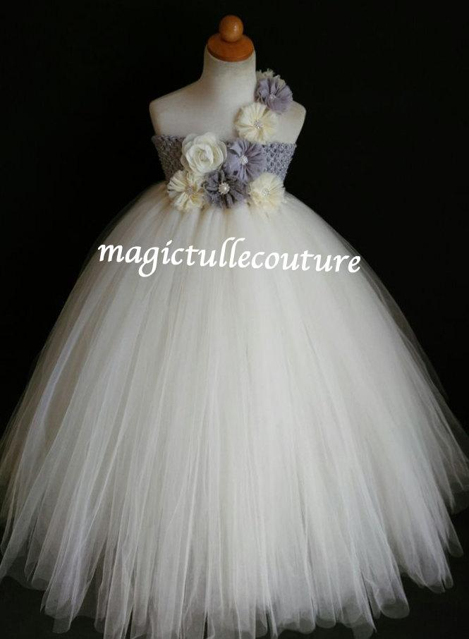 Свадьба - Ivory and grey silver vintage flower girl tutu dress wedding dress tulle dress birthday dress tea party dress 1T2T3T4T5T6T7T8T9T10T