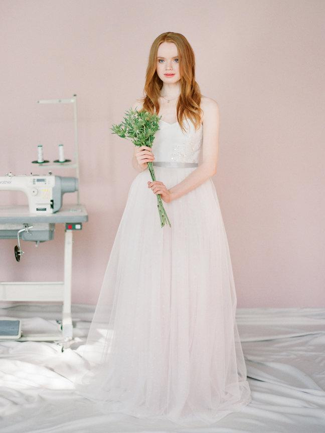 Marie Polka Dot Wedding Dress Pink Princess Gown Colored Coloured Rose