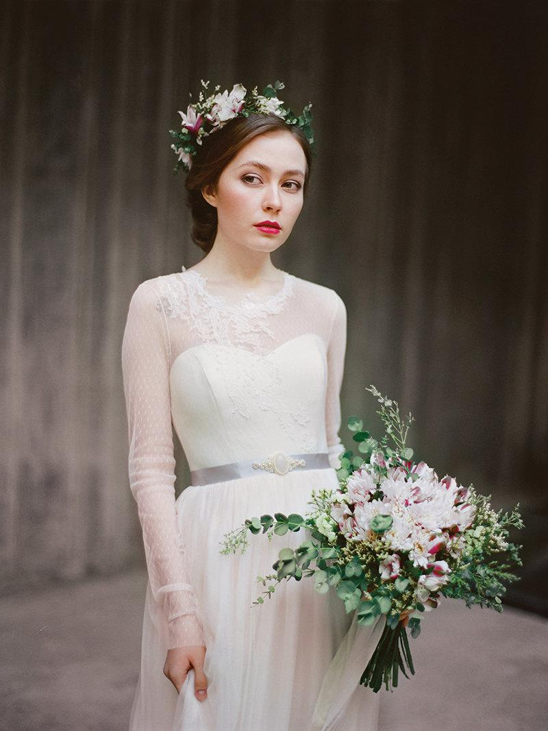Agnia // Long Sleeve Wedding Dress - Wedding Gown - Tulle Wedding ...