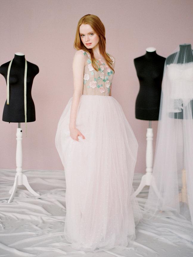 Mariage - Dolores // Unique wedding dress - Wedding gown - Polka dot wedding dress - Flower wedding gown - Pink wedding dress - Rose wedding gown