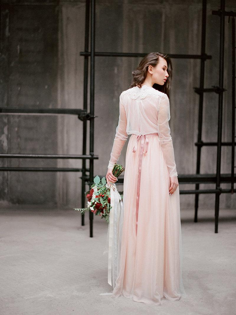 Ivanna Bohemian Wedding Dress Pink Gown Long Sleeve Boho Rustic
