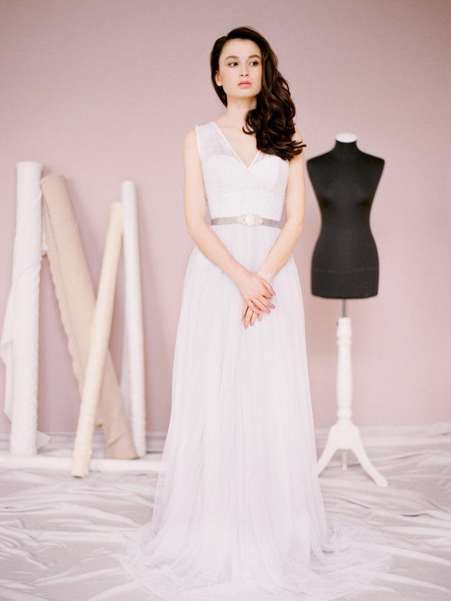 Свадьба - Alison // Grey wedding dress - Wedding gown - Colored wedding dress - Open low back wedding dress - Etherial wedding dress - Milamira