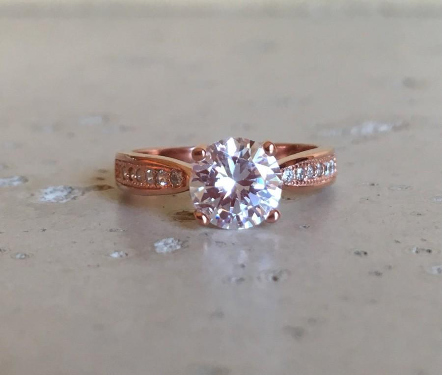 Hochzeit - Rose Gold Engagement Ring- Cubic Zirconia Ring- Anniversary Ring- Promise Ring for Her- Round Ring- Rose Gold Ring- CZ Ring-