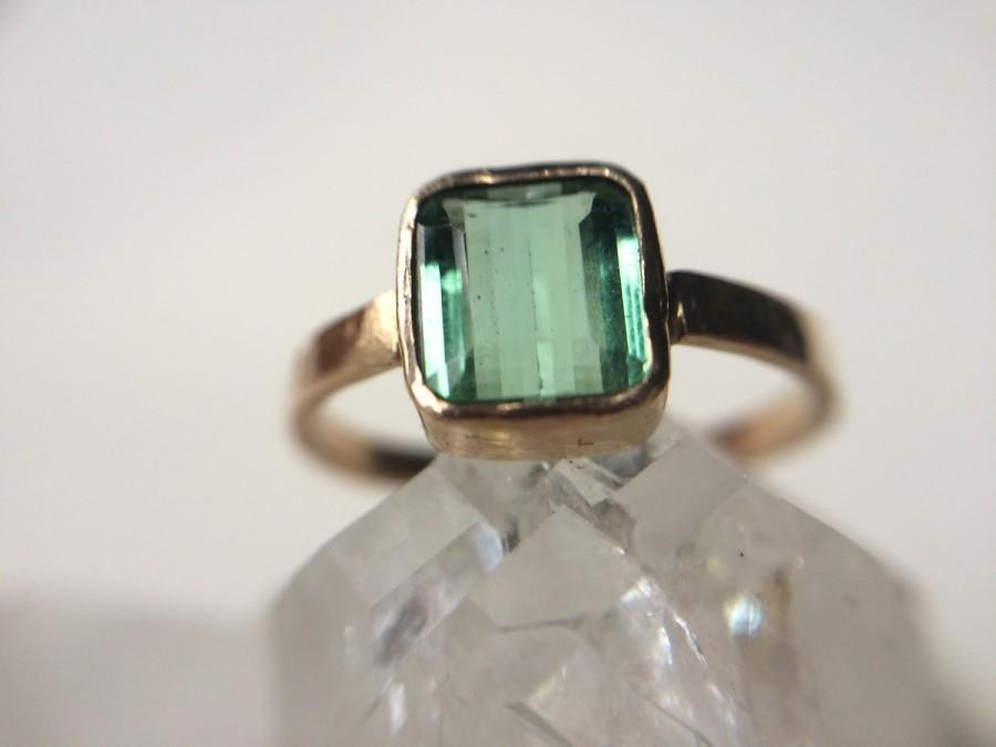 Hochzeit - Mint Green Tourmaline Engagement Ring Hammered 14k Recycled Gold- Hammered Gold Square Green Gemstone Engagement Ring