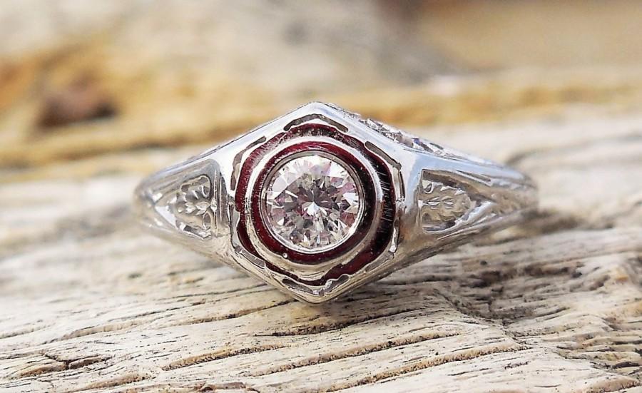Hochzeit - Vintage Antique .25ct Transitional Cut Diamond Unique Engagement Ring 1920's Art Deco 18k White Gold