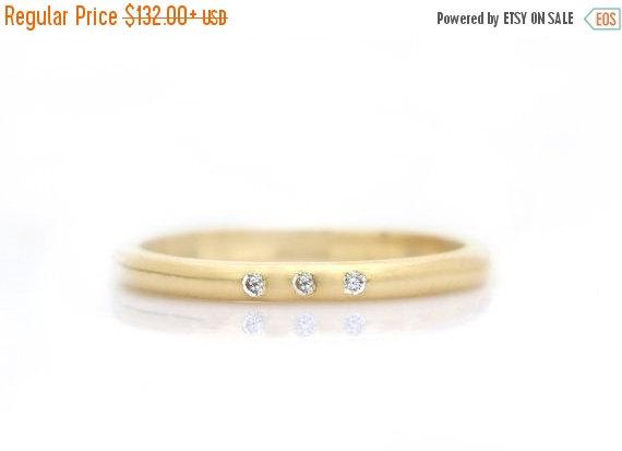 Hochzeit - SUMMER SALE - Triple diamond ring,gold ring,stacking ring,gold filled ring,diamond stack ring,engagement ring,wedding ring,bridal ring