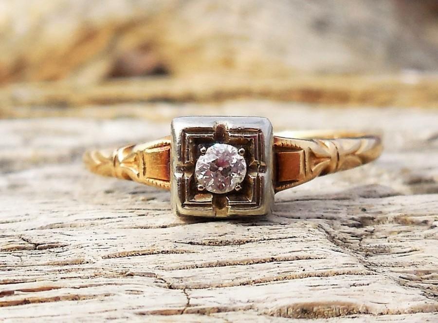Hochzeit - Vintage Antique .10ct Old European Cut Diamond Unique Engagement Ring 1920's Art Deco 14k Yellow & White Gold
