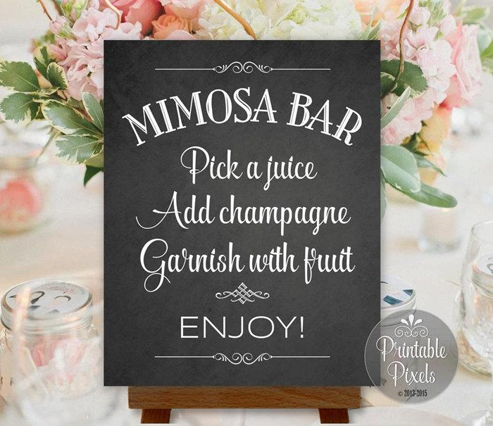 Mariage - Mimosa Bar Sign Chalkboard Wedding Party Shower Printable Instant Download Ready to Print (#MIM1C)