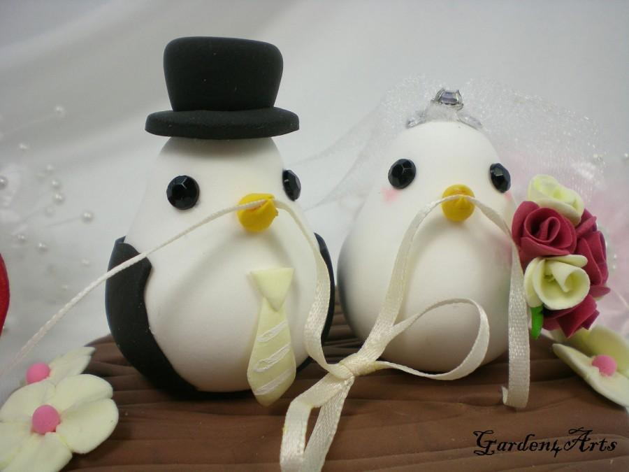 Hochzeit - Custom Wedding Cake Topper--Love Bird Couple with Clay Log Base--NEW