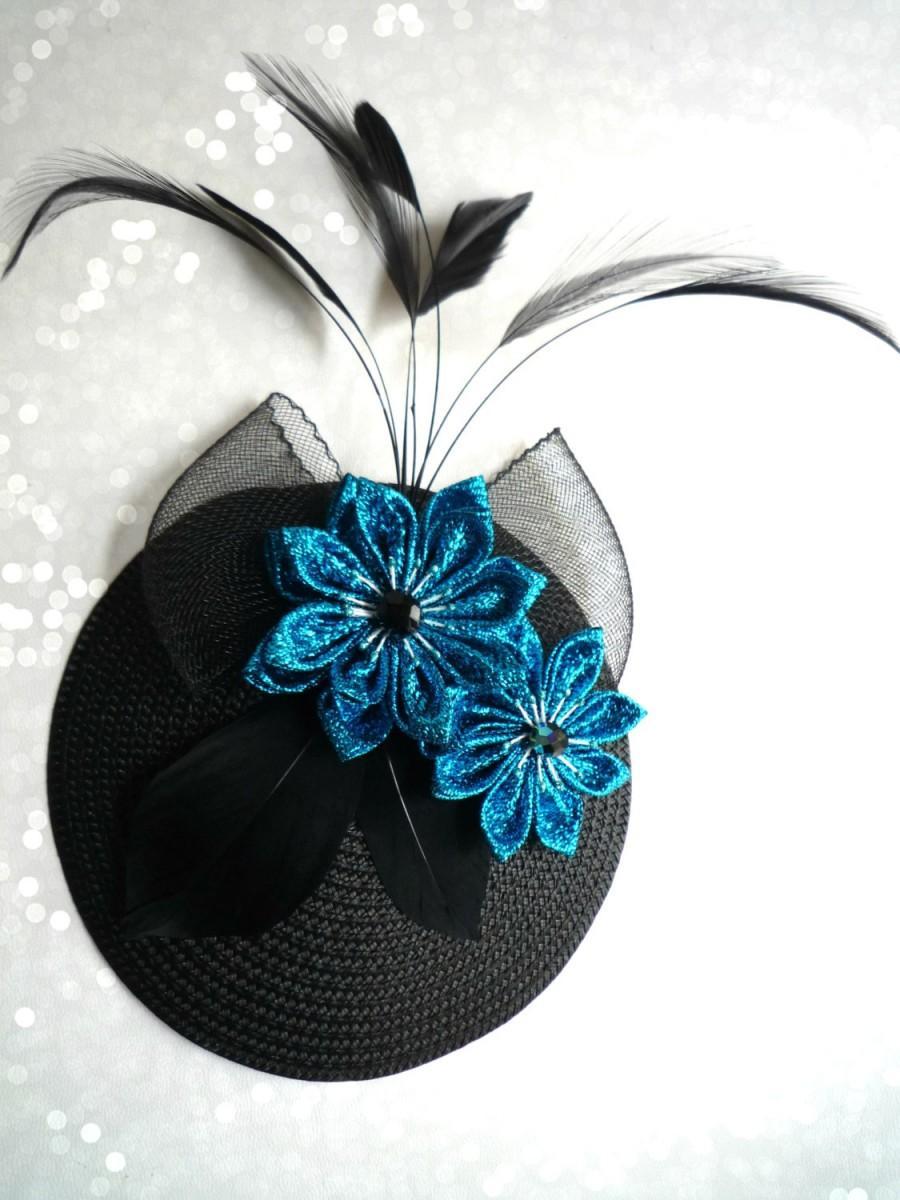 Hochzeit - Bibi glitter chic flower blue cloth, node and feathers