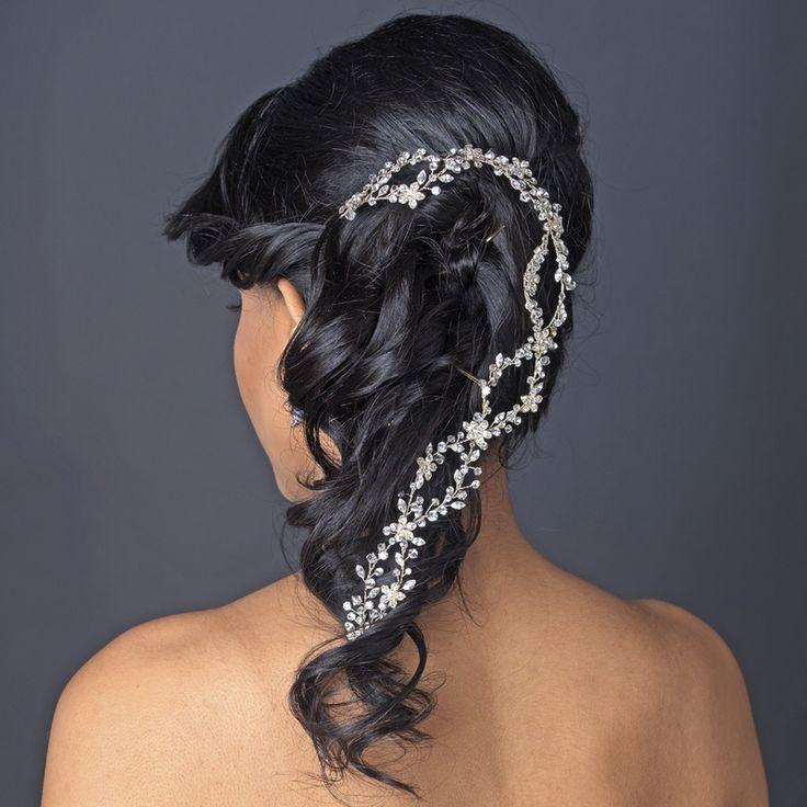 Свадьба - Silver Plated Rhinestone And Crystal Vine Wedding Headband