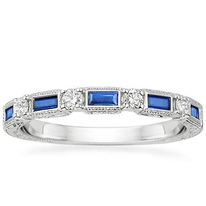 Hochzeit - 18K White Gold Vintage Sapphire And Diamond Ring