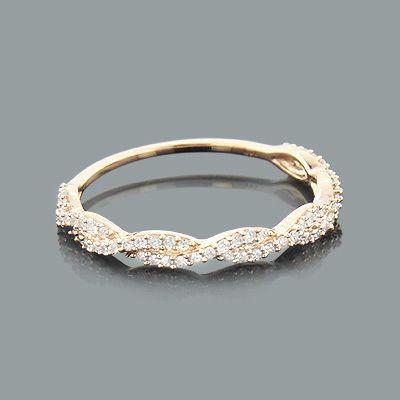 Свадьба - Thin Stackable Designer Diamond Ring 0.28ct 14K Gold