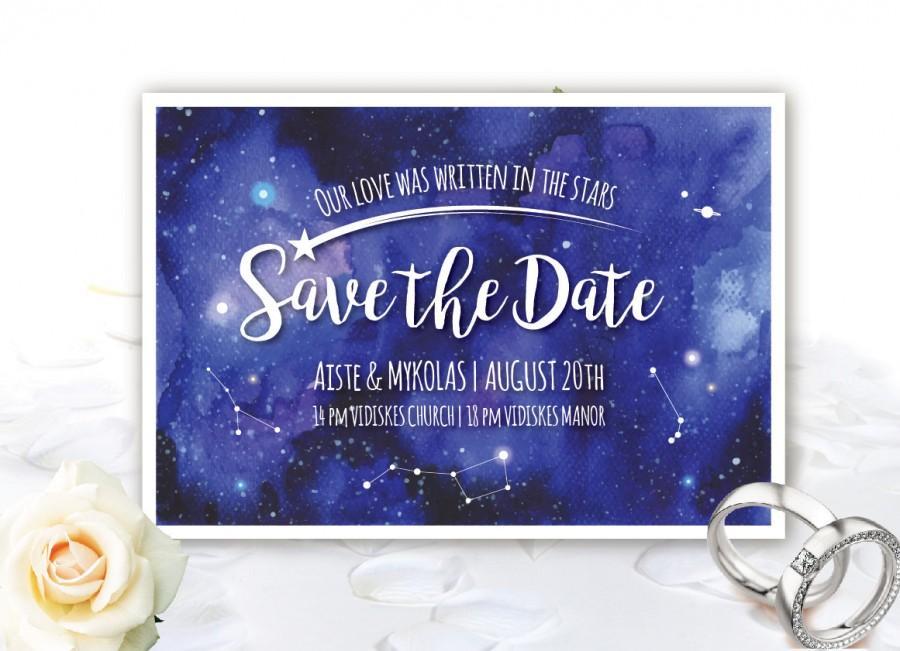 Wedding - Printable PERSONALIZED and Unique GALAXY SAVE the date card  - wedding save the date card - watercolor invitation - night sky wedding