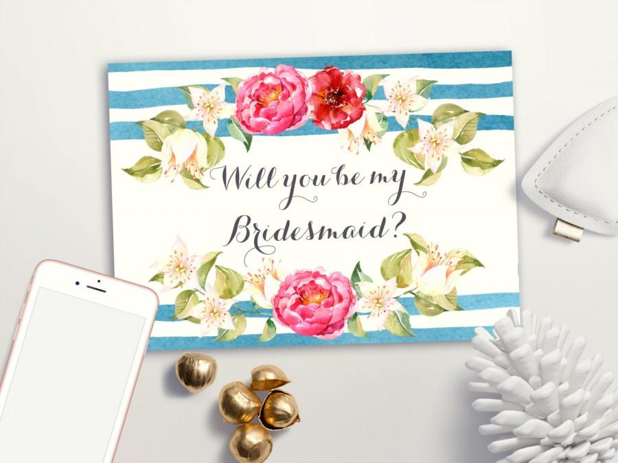 Hochzeit - Will you be my Bridesmaid card Printable, Nautical Bridesmaid Card, Floral Boho Bridesmaid Cards, Printable Bridesmaid Invite Maid of Honor