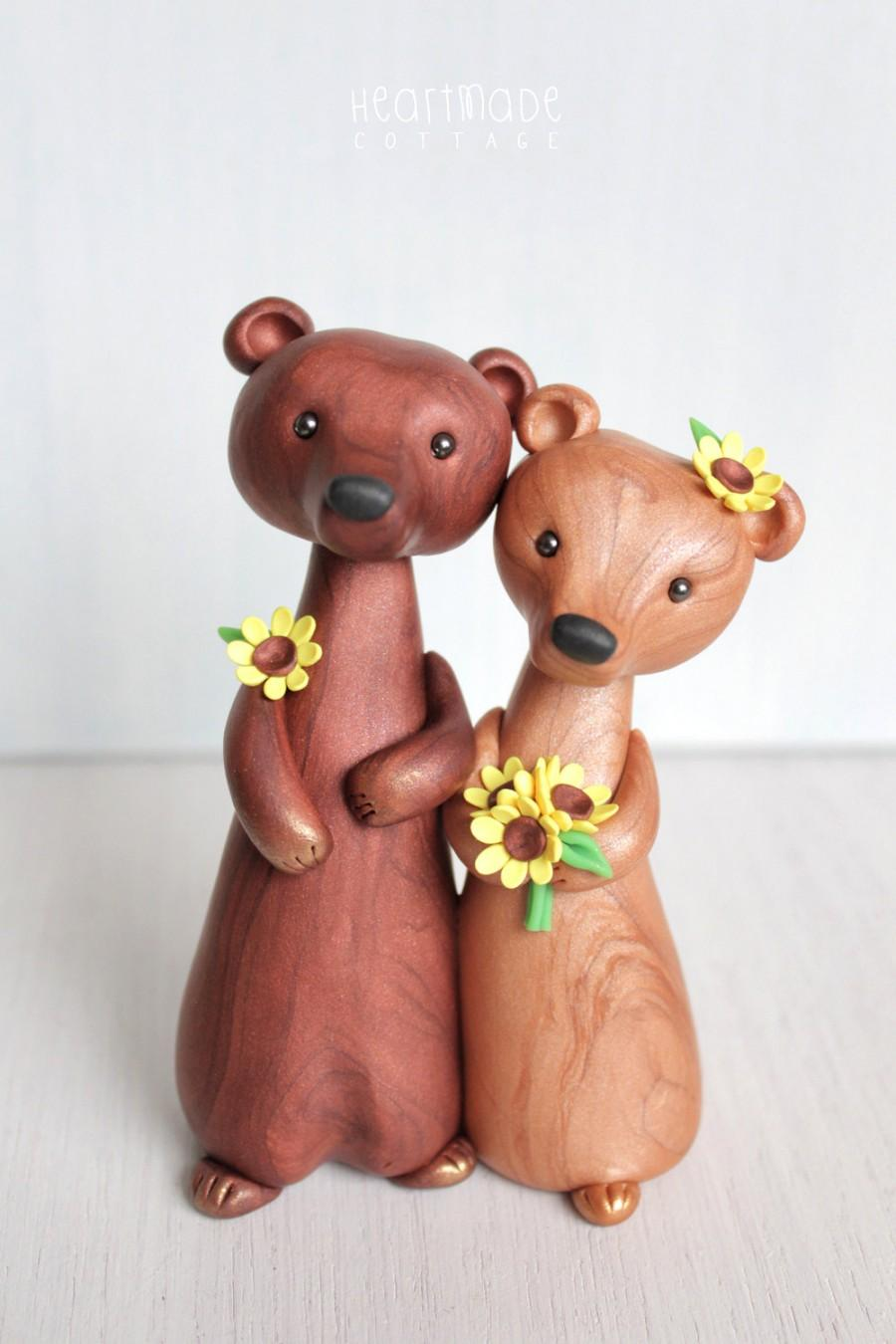 Свадьба - Personalized Bear Wedding Cake Topper -animal clay cake topper and keepsake for original woodland, rustic and chic wedding theme