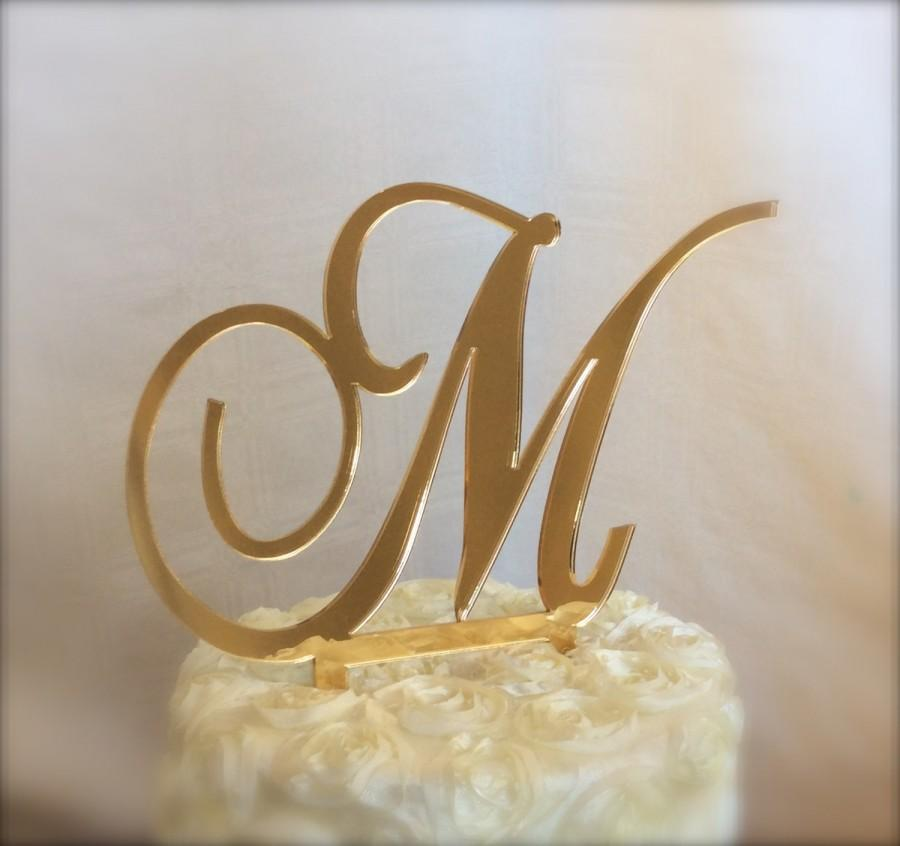 Свадьба - gold mirror custom  monogram cake topper for weddings, birthdays, anniversaries, vow renewal